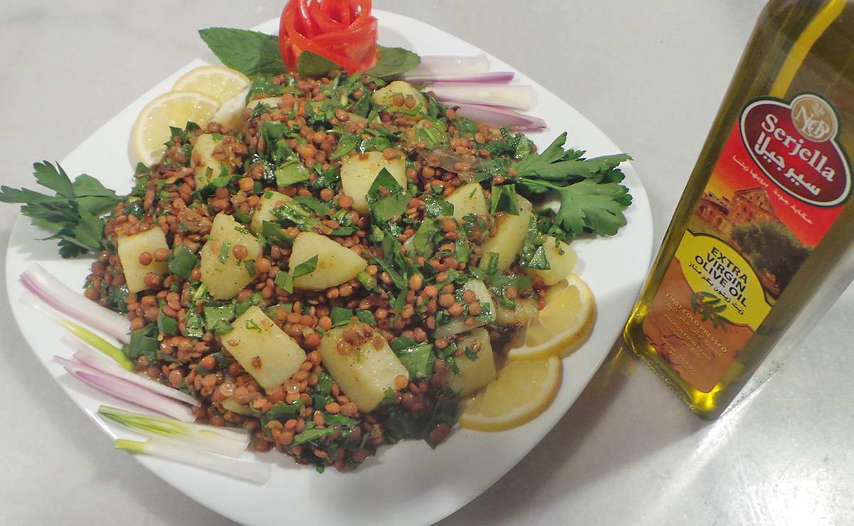 سلطة العدس و السبانخ و البطاطا في 10 دقيقة - وصفة 2019